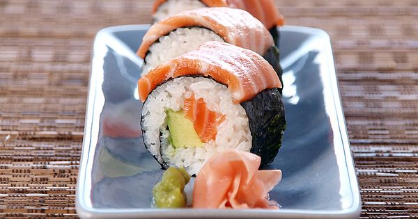 Salmon and Avocado Sushi Rolls