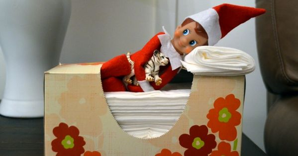 elf on the shelf ideas napping in kleenex box