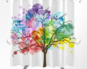 Tree Shower Curtain Watercolor Shower Curtain Rainbow Curtain