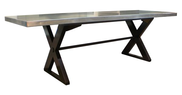 bradley  terrence  table with galvanized steel wrapped top