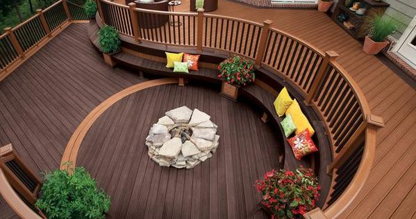 Deck with built in seating and fire pit. This is an awesome