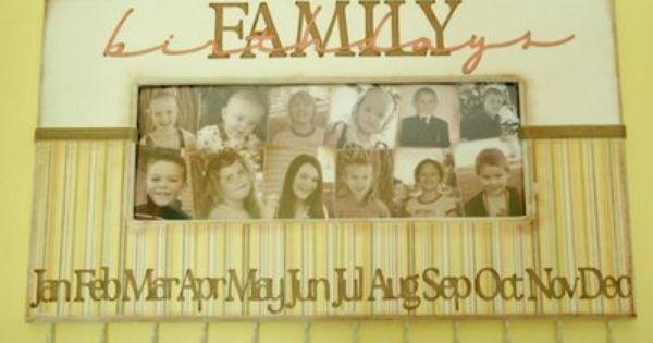 Family Birthday Calendar Family Birthdays Family Birthday