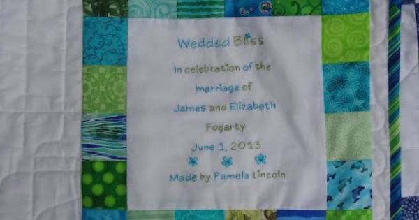 Quilt Label On The Wedding Quilt Hand Embroidered Mama