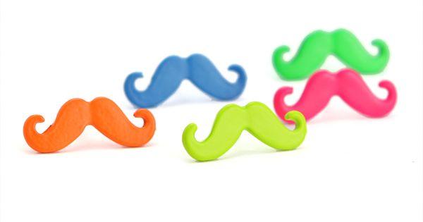 Neon Mustache earrings