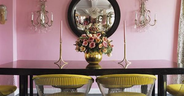 betsey johnson pink yellow dining room.