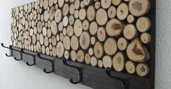 So cool. Found this Maple Wood Slice Rustic Wood Coat Rack from