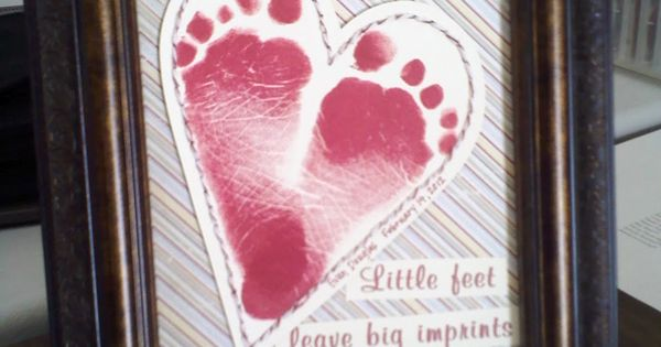 Heart shape made with kids foot prints- cute idea for a card