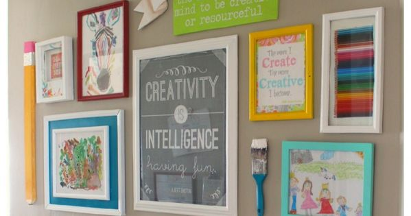 Kids Art Gallery Wall | Here's the perfect way to get your kids' artwork off the fridge and decorate your walls!