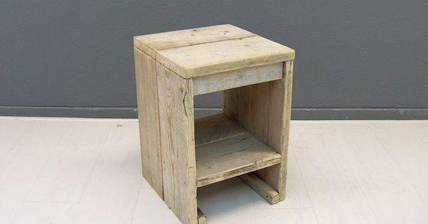 Krukje nachtkastje van oud gebruikt steigerhout afmeting b36xd38xh52cm 19720131445 nachtkast - Wit hout nachtkastje ...