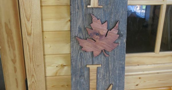Outdoor Cabin Wall Decor : Reclaimed wood fall sign porch decoration thanksgiving