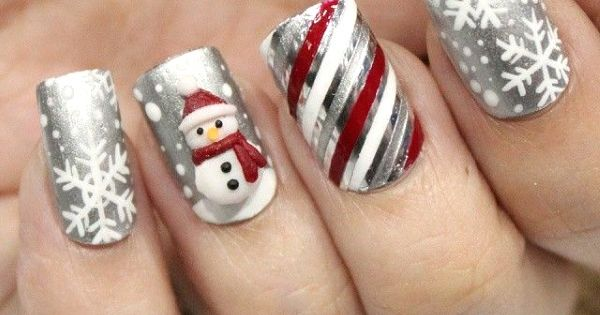 frosty the snowman christmas nail art design nailed it pinterest nagelschere. Black Bedroom Furniture Sets. Home Design Ideas