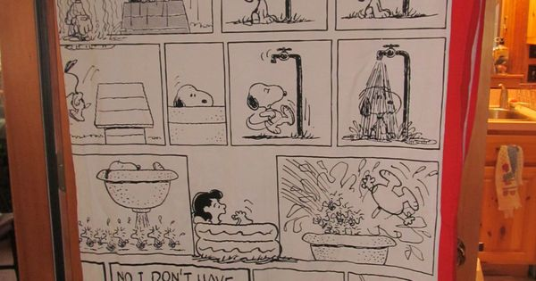 Curtains Ideas snoopy shower curtain : Peanuts and The Gang Shultz Peanuts Fabric Shower Curtain Red and ...