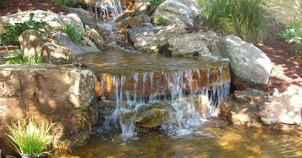 Waterfalls into koy pond water features pinterest for The koy pond