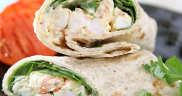 Healthy Shrimp Sandwich Wrap with Curry Yogurt & Spinach | Recipe ...