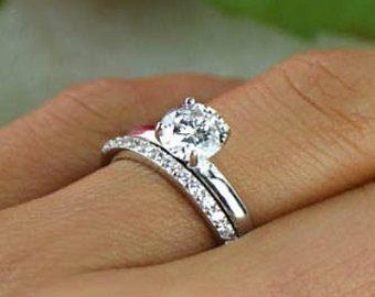 1 Ct Round Bridal Set Solitaire Ring Half Eternity Band Wedding Set Man Made Diam Sapphire Engagement Ring Blue Wedding Ring Sets Solitaire Engagement Ring