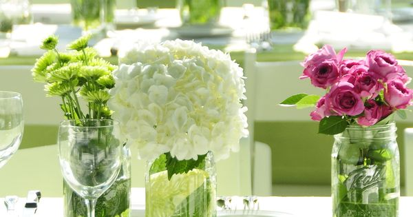 Rehearsal Dinner Backyard Preppy Simple Centerpieces White Hydrangea Table Decor