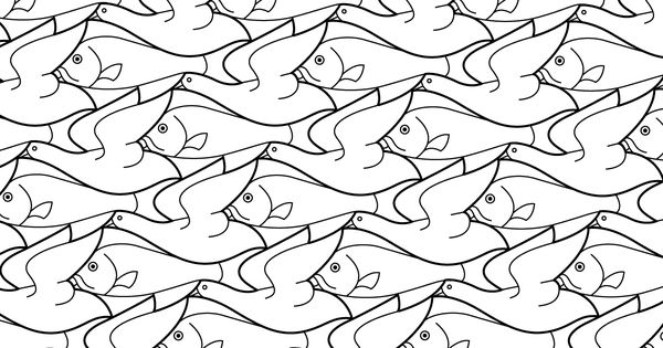 bird fish tessellation by m c  escher coloring page