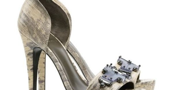 In a statement-making mix of textures and tones, Tory Burch's Viola sandal