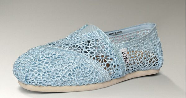 Toms Womens Lace Crochet Shoes SkyBlue