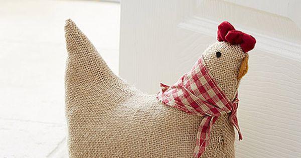 Country chicken large doorstop check neck tie farmhouse decor pinterest - Chicken doorstops ...