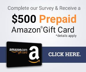 Take A Brief Survey and Receive $12 Amazon® Gift Card!  Amazon