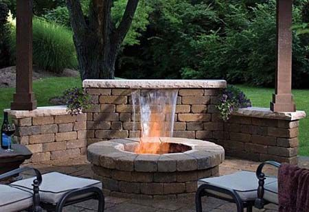 Firepit With Water Feature For Patios Brick Patio With