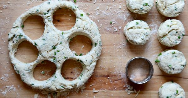 Cream cheese and chive biscuits....think I'd like to try this without the