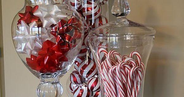 Christmas (or any holiday) decoration idea- fill apothecary jars