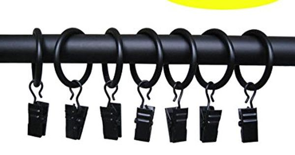 Uqueen 8 16 32 Packs Metal Curtain Rings With Clips 1 3 8 Inch Rings Black Matte Color 16 Metal Curtain Curtain Rings With Clips Window Treatment Hardware