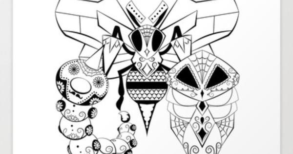 Weedle Evolutions De Los Muertos Pokemon Dayofthedead Mashup Diadelosmuertos Calavera Pokemon Coloring Pages Pokemon Coloring Mandala Coloring Pages