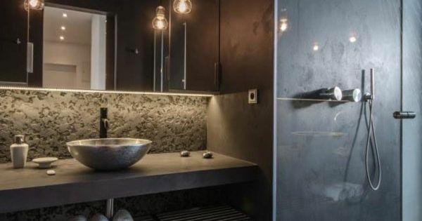 Kleines badezimmer schwarze wandgestaltung attraktive - Badezimmer wandgestaltung ...