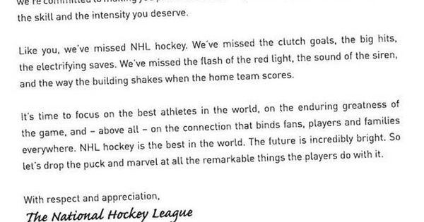 NHL uses full-page ad in newspapers to apologize to fans Sports - sample apology letter for being late