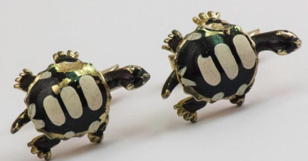 Vintage Cufflinks Turtle Cuff Links Gold Toned by CuffsandClips, $28.40