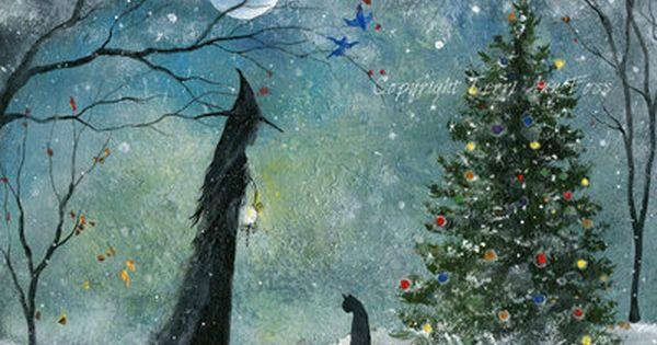 Orig Painting Witch Cat Winter Christmas Halloween Gothic Folk Art Terri Foss Ebay Halloween Art Christmas Art Pagan Art