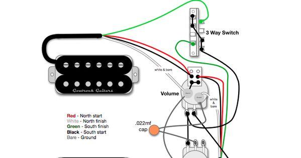 Goatrock Guitars Wiring Diagram 2 Humbucker 1 Volume 1 Tone 3 Way Blade Switch 1 Master Coil Split Humbucker W Guitar Guitar Pickups Guitar Building