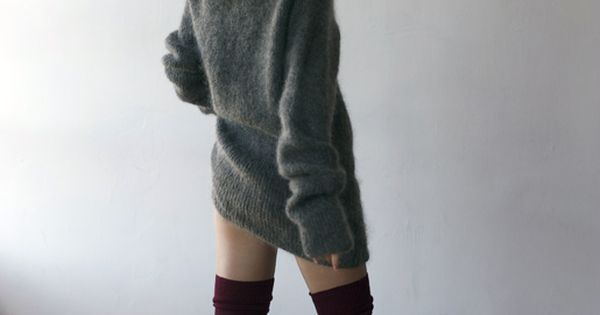 Wool sweater dress. long cozy comfy style fashion winter grey stockings socksknit