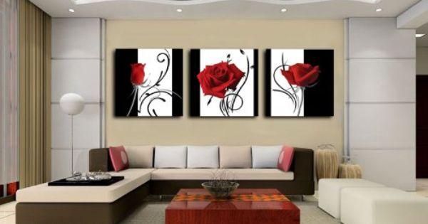 Decoraci/ón del hogar Marco Tableau Modern Wall Art 3 Panel Pintura en forma de coraz/ón Lienzo Cuadro modular para sala de estar 40x60cmx3pcs Sin marco