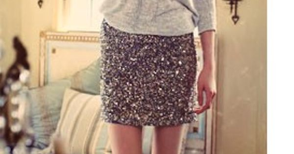 sequined skirt, grey sweater, studded clutch, going out outfit