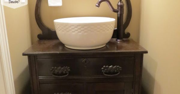 Upcycled Dresser Into Bathroom Vanity