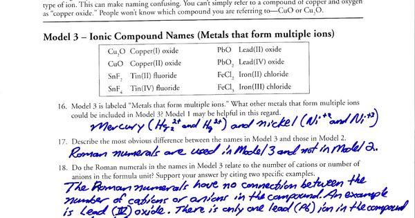 Naming Ionic Pounds POGIL Answer Key | School. | Pinterest ...