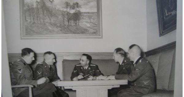 Cool From left Franz Josef Huber Arthur Nebe Heinrich Himmler Reinhard Heydrich and Heinrich M ller In background painting of Wewelsburg castle