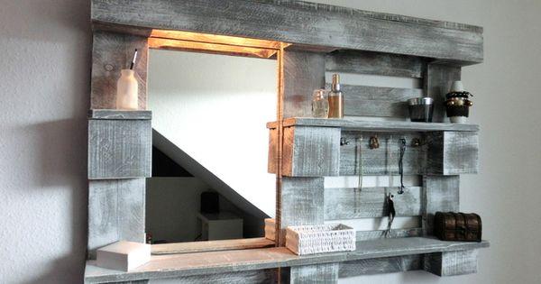 wandregale stylingwandregal mit spiegel und beleuchtung ein designerst ck von paletino bei. Black Bedroom Furniture Sets. Home Design Ideas