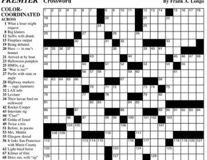 Premier Sunday Crossword King Features Syndicate Free Printable Crossword Puzzles Crossword Crossword Puzzles