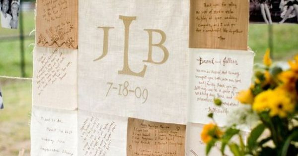 Neat idea? another way to do a wedding quilt. Have them sign