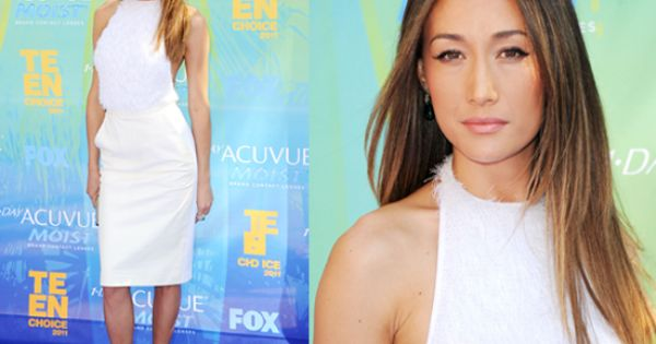 Maggie Q Hairstyle: Maggie Q - Ombre Highlight