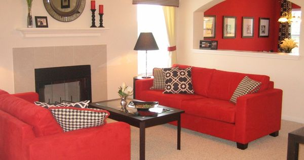 Elegant Red Chaise Lounge Sofa White Themed Living Cozy