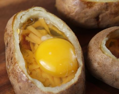 Great way to use leftover baked potatos! Twice baked breakfast potato: butter