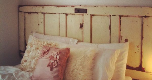 I made a headboard out of an old door from an estate sale for How to make a headboard out of a door