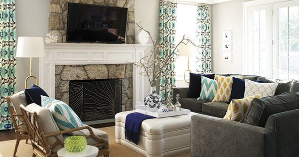 Colorful pillows for grey couch
