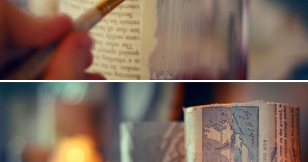 DIY: bookpage jar candle holders